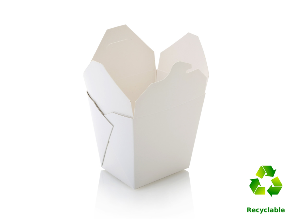Noodle Box Tubs - White - Square Base - 1000ml